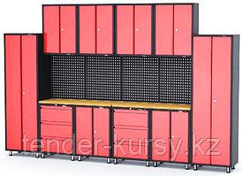 ROCKFORCE Комплект металлической гаражной мебели 16 предметов 460х2180х4000мм (шкаф навесной двухстворчатый 1