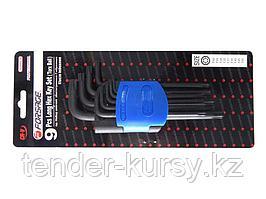 Forsage Набор ключей TORX Г-образных длинных с шаром, 9 предметов (Т10, Т15, Т20, Т25, Т27, Т30, Т40, Т45,