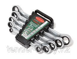 ROCKFORCE Набор ключей накидных трещоточных, 5 предметов (8х10, 12х13, 14х15, 16х17, 18х19мм), в пластиковом