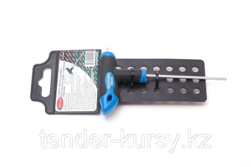 ROCKFORCE Ключ Т-образный 6-гранный с шаром и прорезиненной рукояткой H2.5x75мм, на пластиковом держателе