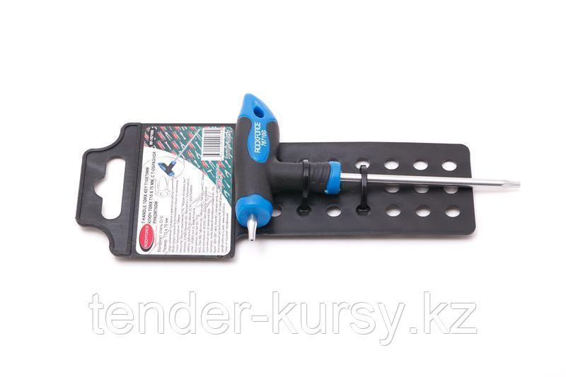 ROCKFORCE Ключ Т-образный TORX с прорезиненной рукояткой T10х75мм, на пластиковом держателе ROCKFORCE