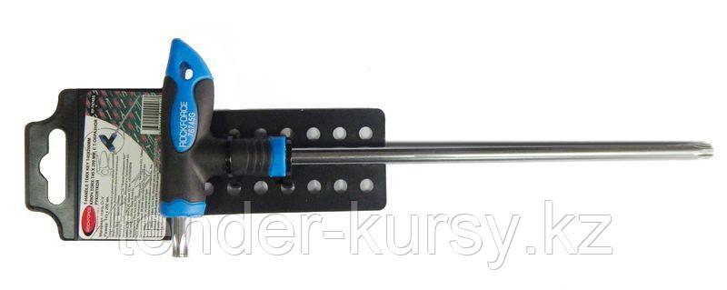 ROCKFORCE Ключ Т-образный TORX с прорезиненной рукояткой T25х100мм, на пластиковом держателе ROCKFORCE