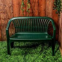 Скамья садовая, пластиковая 115 х 60 х 81 см, со спинкой 'Престиж', зеленая