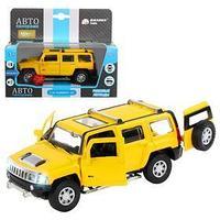 Машина металлическая Hummer H3 132 цвет жёлтый инерция, световые и звуковые эффекты, открываются двери