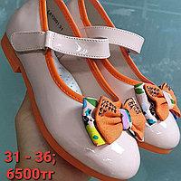 Нарядные розовые / оранжевые туфли на девочку 31-36 размеры