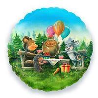 Шар фольгированный 17' круг 'Лесные друзья' (комплект из 5 шт.)