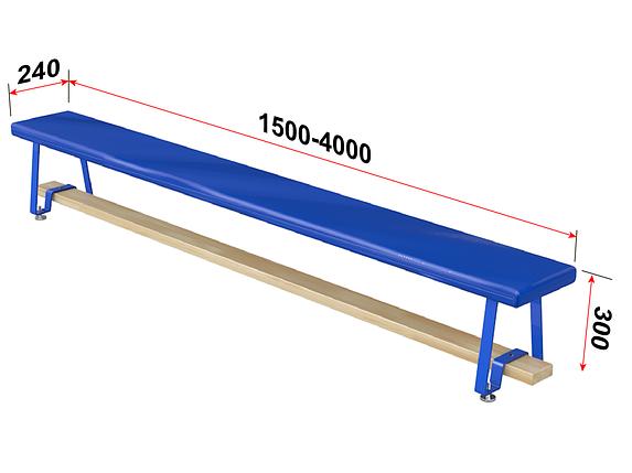 Скамья гимнастическая мягкая, ножки металлические 1,5м, фото 2