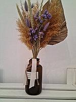 Букет из сухоцветов, цвет бежевый+фиолет, высота 25-35 см