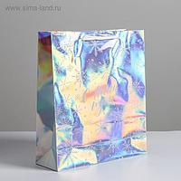 Пакет голографический вертикальный «С Новым годом», M 26 x 30 × 9 см