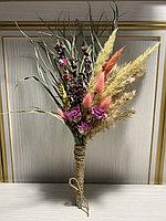 Букет из сухоцветов, высота 15 см ,цвет розовый