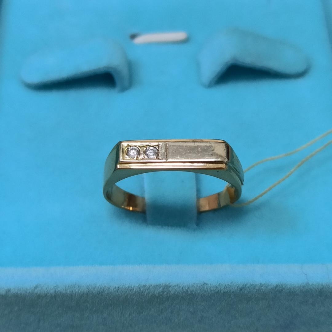 Золотое кольцо мужское с фианитом