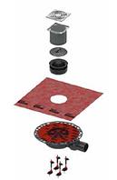 Комплект точечного трапа с сифоном DN 50 с декоративной решеткой KDP-S120