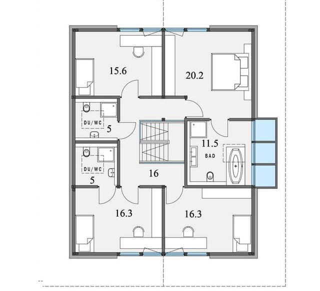 Проект двухэтажного дома из бруса в стиле модерн, план двухэтажного дома и строительство под ключ, проектирование и строительство деревянных домов.