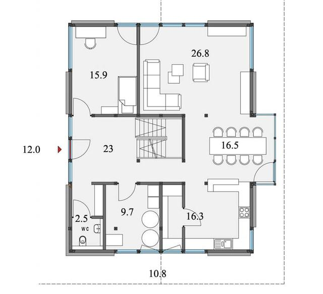 Проект двухэтажного дома из бруса в тиле модерн, план двухэтажного дома и строительство под ключ, проектирование и строительство деревянных домов.