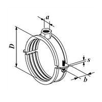 Хомут металлический с резиновой прокладкой 133-137 мм