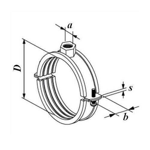 Хомут металлический с резиновой прокладкой 215-225 мм - фото 1