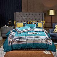 Комплект постельного белья двуспальный из сатина с полосками и узорами