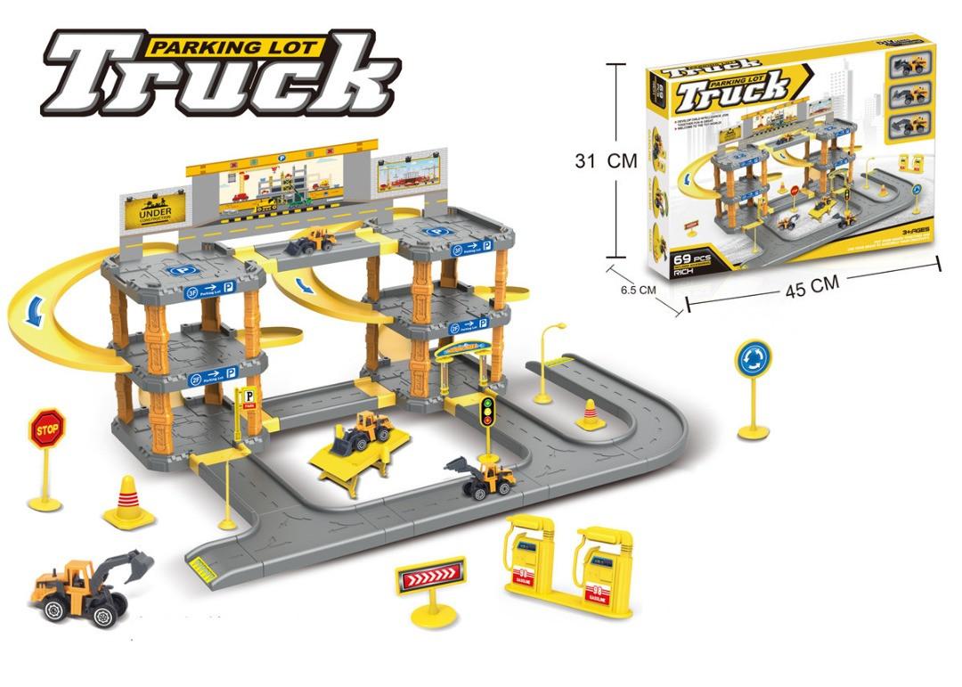 Набор парковка со строительными машинами