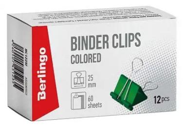 Зажим для бумаг BERLINGO, 25 мм, цветные (12 шт)