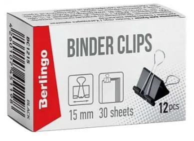Зажим для бумаг BERLINGO, 15 мм, черные (12 шт)