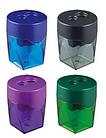 Точилка DELI пластмассовая, 2 отверстия с контейнером