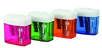 Точилка DELI пластмассовая, 2 отверстия, с контейнером