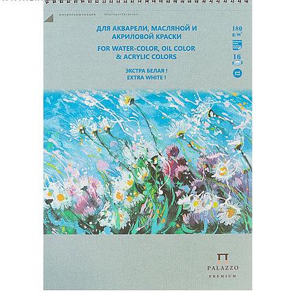Альбом для акварели, масляной и акриловой краски В4, 16 листов на гребне «Русское поле», экстра белый блок, 18
