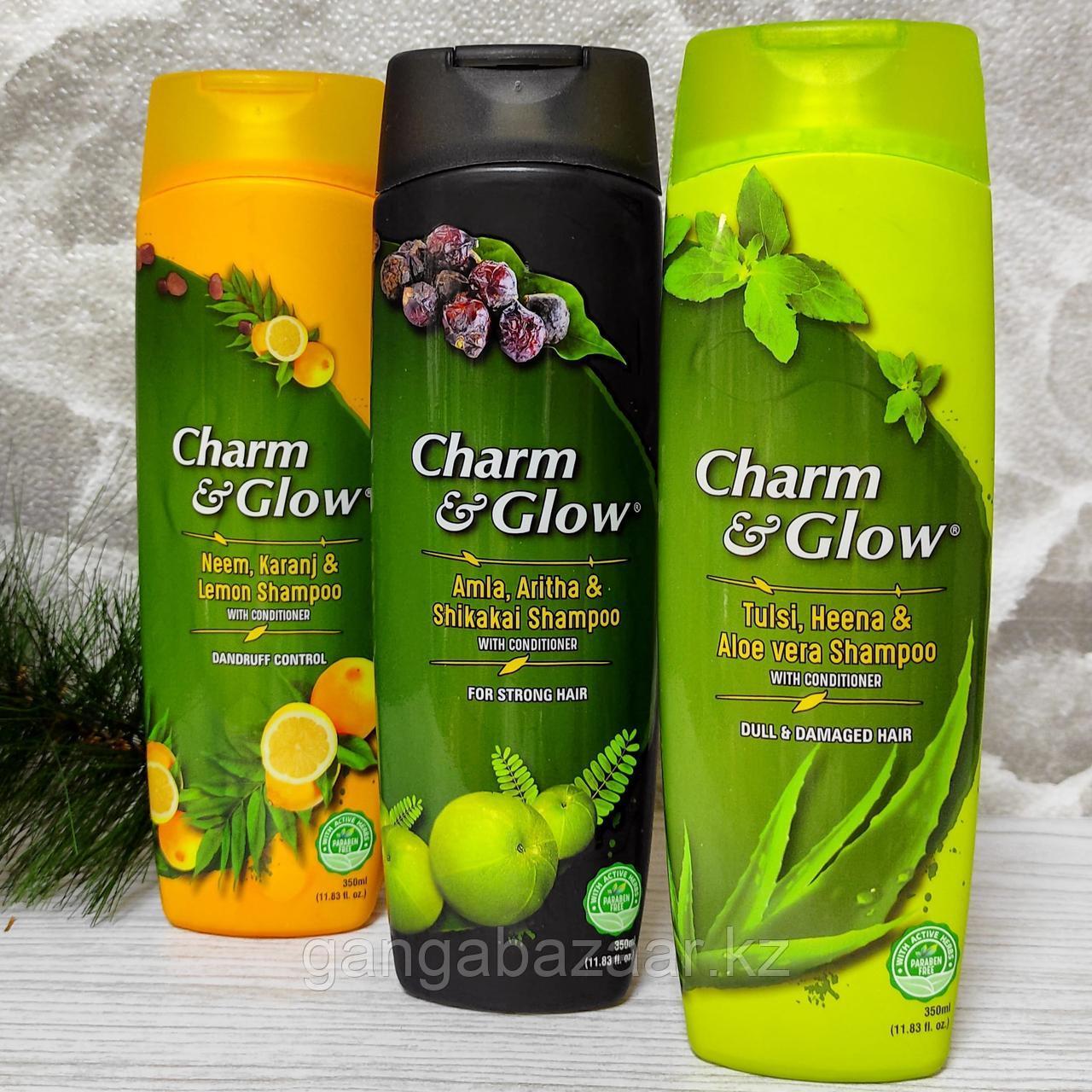 """Травяной шампунь """"Чарм & Глоу -АМЛА,РИТХА,ШИКАКАЙ"""" - для силы, здоровья, предотвращения выпадения волос, 350мл"""