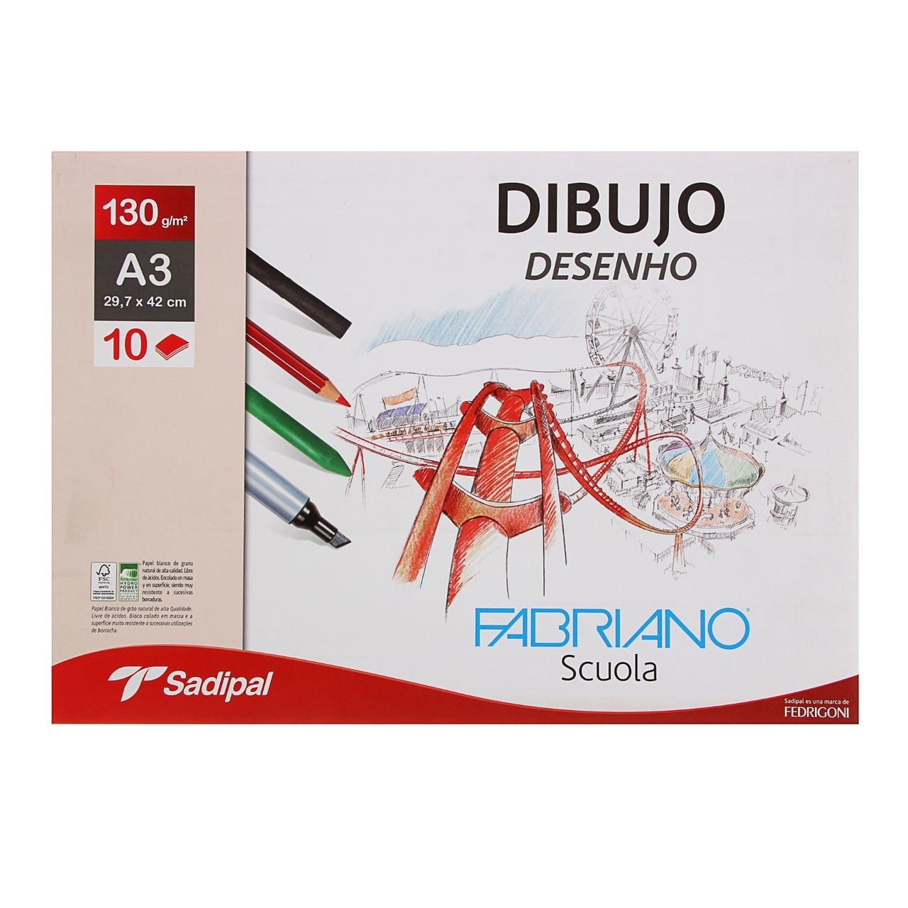 Альбом для графики и пастели А3, Fabriano Dibujo Desenho, 10 листов, 130 г/м², конверт