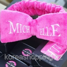 Розовый Бант-повязка для фиксации волос во время косметических процедур Michelle