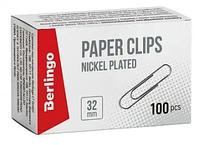 Скрепки BERLINGO 32 мм, никелированные, 100 шт/упак