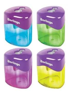 """Точилка BERLINGO """"DoubleColor"""" 2 отверстия, с контейнером"""