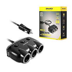 Автотройник Awei C-35 2XUSB 3 Socket adapter 120V/10A Black