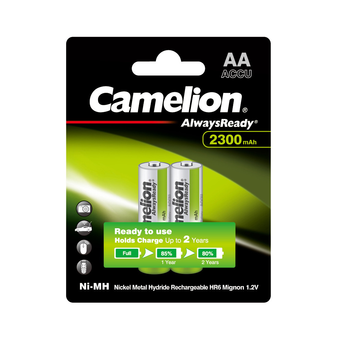 CAMELION, AlwaysReady Rechargeable, Ni-MH, NH-AA2300ARBP2, 2300 мА/ч, (2 шт.), аккумулятор