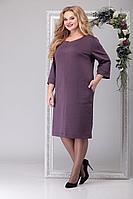 Женское осеннее трикотажное фиолетовое большого размера платье Michel chic 2021 баклажан 54р.