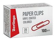 Скрепки BERLINGO 28 мм, цветные, 100 шт/упак