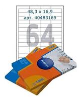 Этикетки самоклеящиеся Multilabel, А4, 48,3 х 16,9 мм., 64 шт/лист, 100 л.