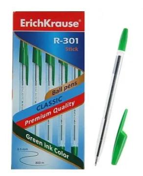 "Ручка шариковая ERICH KRAUSE ""Classic Stick R-301"", 1.0 мм, зеленая"