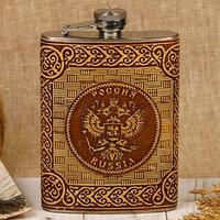 Фляжка 'Россия', 240 мл, металл, береста