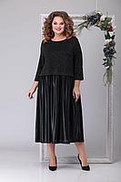 Женское осеннее трикотажное черное нарядное большого размера платье Michel chic 2032 чёрный 56р.