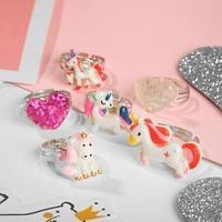 Кольцо детское 'Волшебное' единороги и сердечки, форма МИКС, цветные (комплект из 36 шт.)