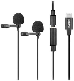Двойной петличный микрофон Boya BY-M2D  на iPhone, фото 2