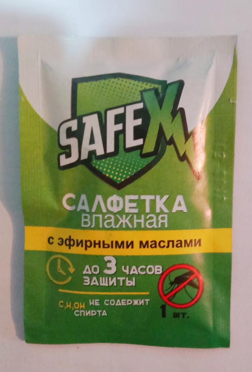 Влажная салфетка с эфирными маслами SafeX, защищающая от комаров до 3ч, 1шт