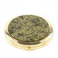 Зеркало круглое со змеевиком цвет золото в подарочной коробке