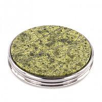 Карманное зеркальце круглое со змеевиком цвет серебро