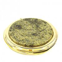 Зеркало карманное круглое со змеевиком, золотистое