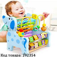 Детская развивающая деревянная игрушка Собачка с вычислительной стойкой, цифрами и лабиринтом Aut