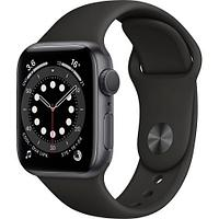 Apple Watch Series 6 GPS, 40mm Space Gray Aluminium Case with Black Sport Band - Regular, Model A2291