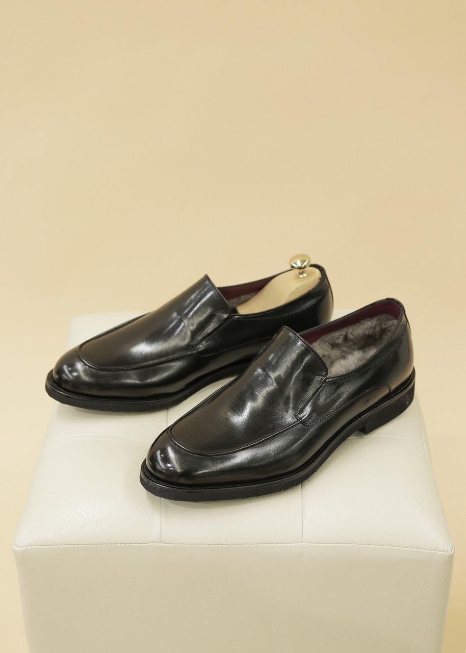 Туфли-лоферы зимние (черные)
