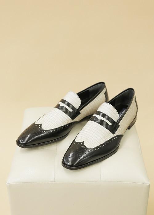 Кожаные туфли «Оксфорды» (черно-бежевые)